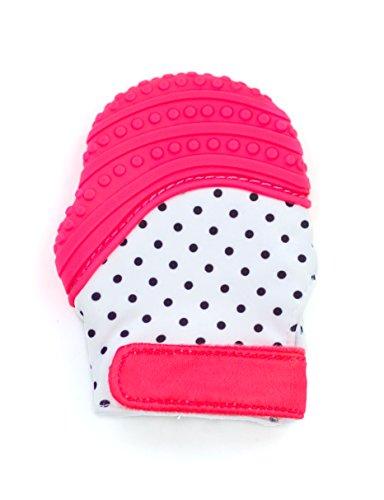 Knisternder Handschuh für Babys | Zahnungshilfe aus umweltfreundlichem Silikon | Ersatz für Beißring | inkl. Beutel von BALUX (Rot mit Punkten)