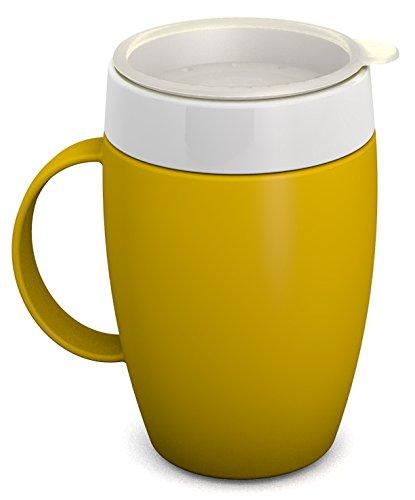 Ornamin Becher mit Trink-Trick 140 ml gelb mit Thermofunktion und Trinkdeckel | Schnabeltasse 4.0 Trinken ohne den Kopf in den Nacken zu legen | Spezial-Trinkhilfe, Nasenbecher, Schnabelbecher