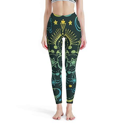 O4EC2-8 Damen Stil Capri Leggings Hot Leichtes Gewebe Star Moon Green Stretch-Hose Yoga Capri-Leggings Damen - blau White s