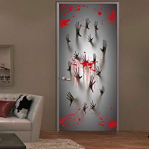 VEMOW Heißer Halloween Party Dekoration Spukhaus Dekoration Fenster Tür Abdeckung Zombie Hände 78X30 Zoll(Mehrfarbig, 77x200cm)