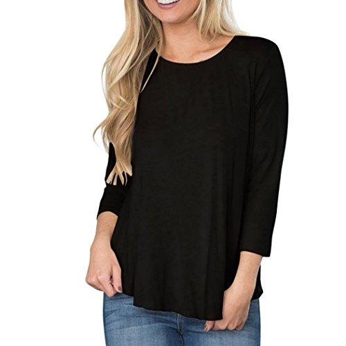 FNKDOR Loose Women manches longues Backless Patchwork Dentelle Hauts Chemisier T-shirt Noir