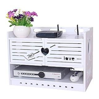 Jcnfa-Set Top Box Regal TV-Wandregal Schwimmrahmen Lagerregal Router Kabelbox Einfach Zu Montieren, Weiß
