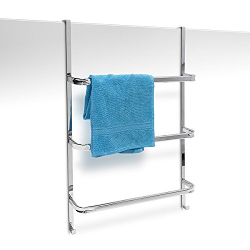 Relaxdays Handtuchhalter mit 3 Handtuchstangen HxBxT: 85 x 54 x 11,5 cm Badetuchhalter für alle gebräuchlichen Türen ohne Bohren in Edelstahl-Optik mit 2 Handtuchhaken für Badezimmer und Küche, silber -
