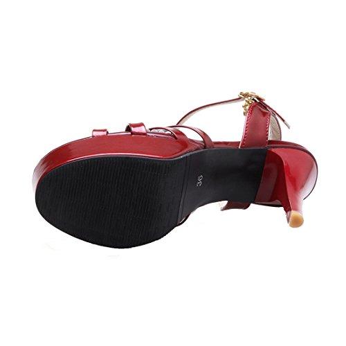 YE Damen Lackleder Riemchen Offene Stiletto Plateau Sandalen mit Schnalle High Heel Pumps Schuhe Rot