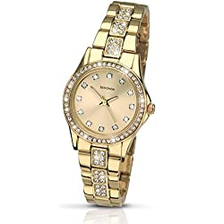 Sekonda Starfall Champagne Dial Gold Plated Stainless Steel Bracelet Ladies Watch 2020