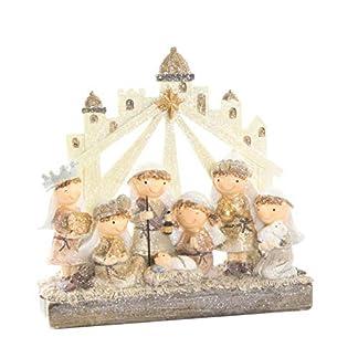 Portal de Belén/Nacimiento de Navidad en Resina. 2 Modelos a Elegir con Figuras Original/Navideño 20X7X20 CM.-Hogarymas- – A