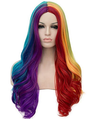 Tsnomore lange wellenförmige Regenbogen-Farbmischung und Match-Cosplay-Perücke