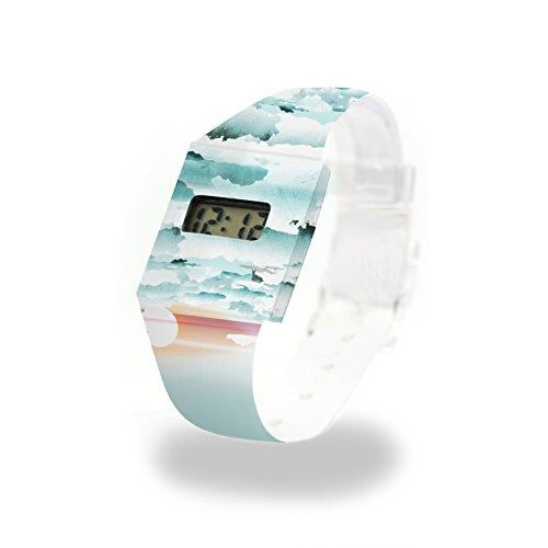 CLOUDS Pappwatch / Paperwatch / Digitale Armbanduhr aus Tyvek®, absolut reißfest und wasserabweisend