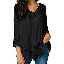 Tops Flojos de Tres Cuartos para Mujer Camisetas con Cuello en V Tops Blusa de Encaje