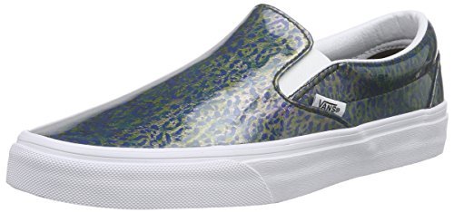 Vans Classic Slip-On, Baskets Basses Mixte Adulte Bleu (Patent Leopard/Copper)
