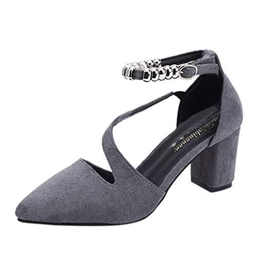 Yvelands Damen Spitzen Zehe quadratische Ferse Perlen Schnalle lässig einzelne Schuhe(CN-38,Grau)