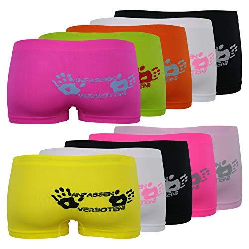 ReKoe 10er Pack Damen Hot Pants Unterwäsche ANFASSEN VERBOTEN Hipster Short Microfaser, Größe:L-XL = 40/42