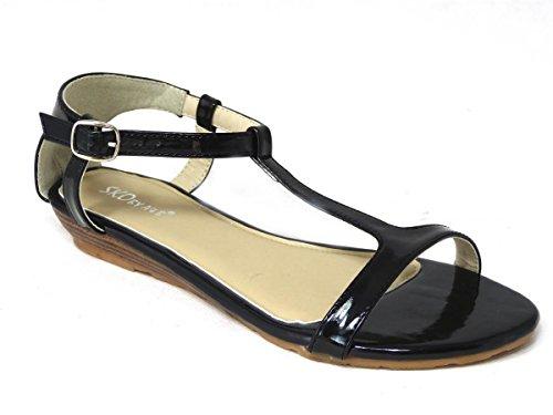 Femme Vacances d'été Peep Toe Sandales Mules Plage coulisses Chunky chaussures plates Black (13007)
