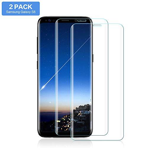 Hanbee Protector Pantalla para Samsung S8 [2 Piezas], Cristal Templado Samsung Galaxy S8 [Sin Burbuja] [Cubierta 3D], Vidrio Templado Samsung Galaxy S8