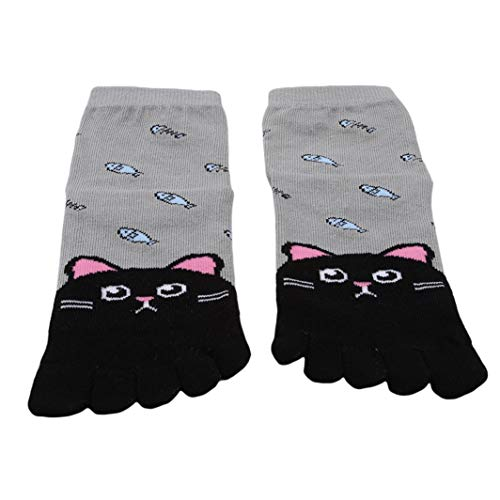 SHIJIAN Animal Pattern Zehensocken Kinder Baumwolle Breathable Fünf Finger Socken, 7-12 Jahre alte schwarze Katze