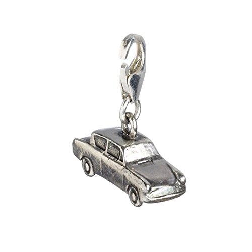 Charm-Anhänger, Sterling-Silber, Design fliegender Ford Anglia, mit Karabiner, in Box (Harry-potter-ford Anglia)