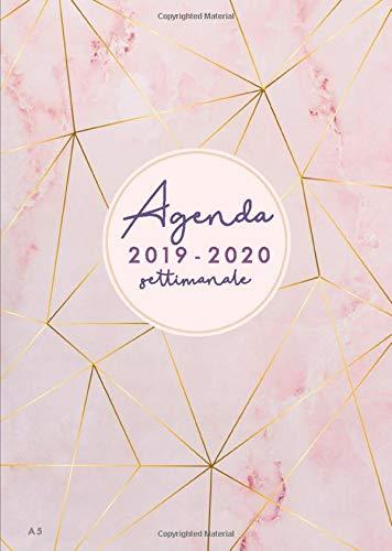 Agenda settimanale 2019 2020 A5: Agenda 2019/2020 giornaliera italiano | 18 mesi |  luglio 2019 - dicembre 2020 | marmo rosa e strisce