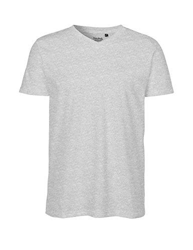 Green Cat Herren T-Shirt mit V-Ausschnitt, 100% Bio-Baumwolle. Fairtrade, Oeko-Tex und Ecolabel Zertifiziert Grau