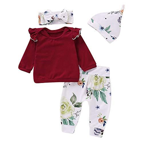 Kleinkind Kleidung Set Baby Mädchen T-Shirts Blumendruck Top Hosen Cap Stirnband Rüschen Outfits Set Kinderbekleidung, Weinrot, 18-24 Monate