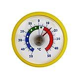 Lantelme Rundes Bimetall Analog Klebe Kühlschrankthermometer Kühlschrank Thermometer Temperatur Anzeige +/- 50 °C Kunststoff Farbe gelb (BRVS)