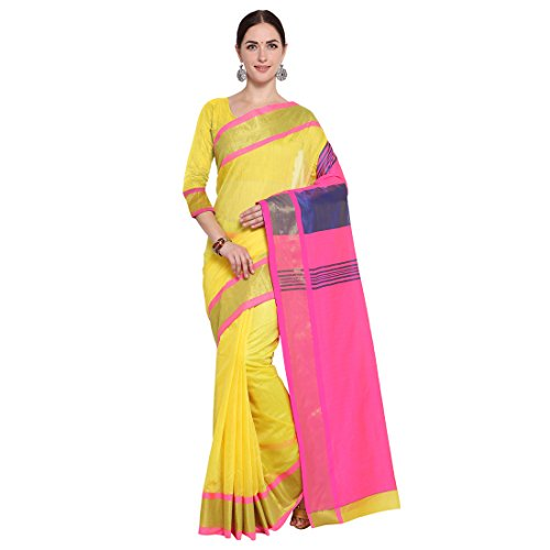 Vatsla Enterprise Women\'s Cotton Saree (VBAOTRSDLEAR_YELLOW)