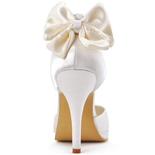 ElegantPark AJ091-PF Scarpe da sposa con tacco plateau scarpe chiuse donna Bianco (Ivory)
