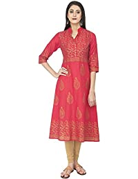Zoeyams Women's Red Cotton Block Prints Long Anarkali Kurti