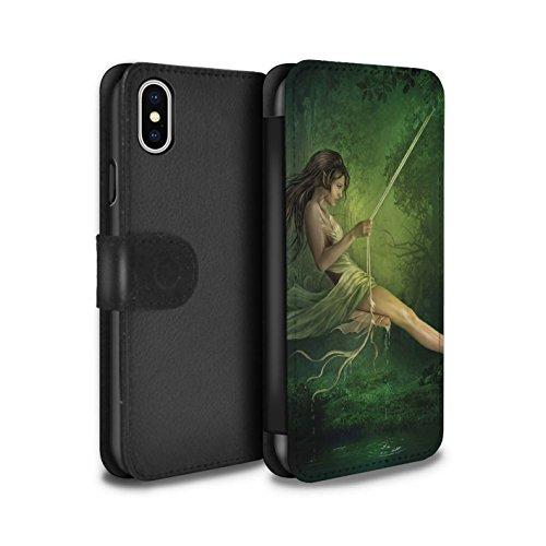 Officiel Elena Dudina Coque/Etui/Housse Cuir PU Case/Cover pour Apple iPhone X/10 / Par le Vent Design / Un avec la Nature Collection Balançoire Étang