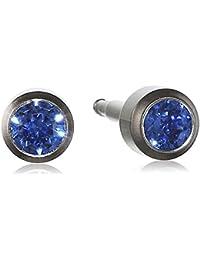 Pure Grey Unisex Titanium Cubic Zirconia Initial Stud Earrings Blue 309