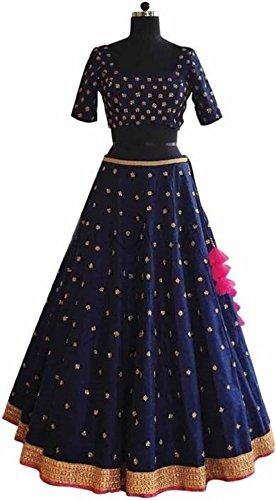 brand junction art silk Embroidered Stitched Lehenga, Choli and Dupatta Set(nevy Blue full butti work)