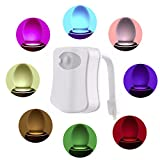 (Promotions)Comwinn Toilet Night Light, LED Sensor Motion Activated Toilet Light Battery-Operated,8 Colors Changing Night Light Toilet Bowl Light (1 Pack)