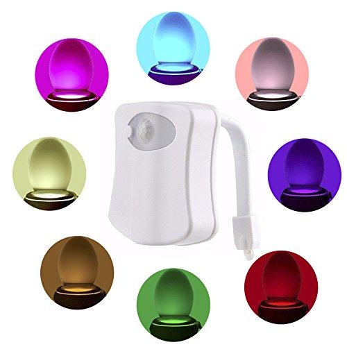 Weißes Licht Wechseln (comwinn WC-Nachtlicht, LED Sensor Motion aktiviert WC-Licht Batteriebetrieben, 8Farben wechseln Nachtlicht WC-Schüssel Licht, weiß, 1 Packung 0.10 watts)