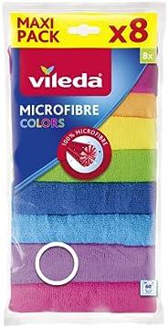 Vileda Microfiber Colors All Purpose Wiping Cloth 8Pcs