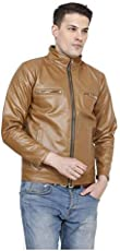 Comfort Zonee Classy & Stylish Brown PU Leather Jacket for Mens & Boys
