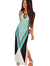 Minetom Femme Sexy Col Rond Longue Robe Sans Manches - Maxi Rayures Taille Mince Robe de Bohême