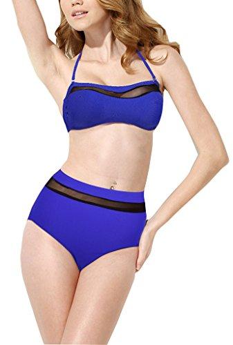 Lotus Instyle Badeanzug fuer Damen Zweiteiliige Bademode Push-Up Schwimmanzug Bikini-Sets Blue