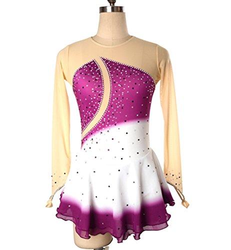 Heart&M Eiskunstlaufen Kleider Für Mädchen Frauen Eiskunstlauf-Wettbewerb Performance-Kostüm Sparkly Crystals High-End-Gewebe Langärmelige Handgemachte Skating Wear Purple,XL