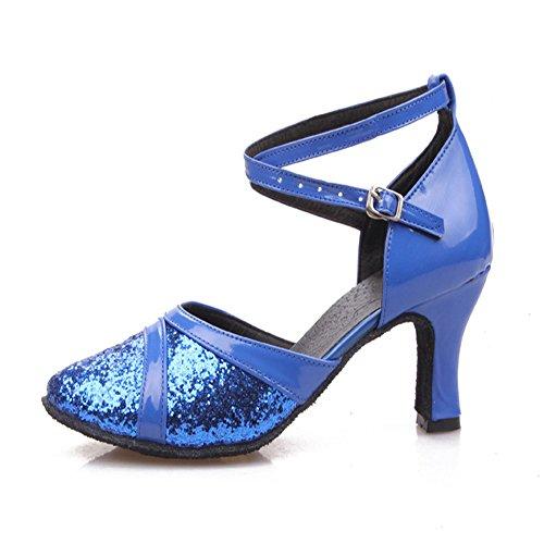 TMKOO& 2017 nouvelles chaussures de danse latine femmes femmes place chaussures à semelles en caoutchouc creux paillettes en cuir de lumière laser Bleu