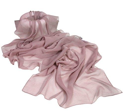 Prettystern sciarpa di seta lunga da donna stola filo di metallo argentato iridescente tinta unita ash rosa