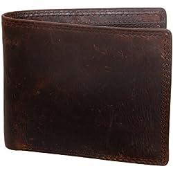 Prochive Cartera Billetera de Piel Cuero Auténtica 12 x 9.5 x 1cm Hombre Marrón