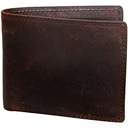 e656427e3 Prochive Cartera Billetera de Piel Cuero Auténtica 12 x 9.5 x 1cm Hombre  Marrón. Amazon.es
