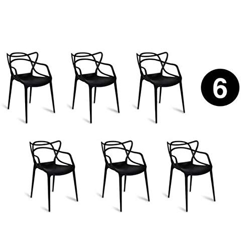 IBH DESIGN Set 6Stühle Miami-schwarz-Inspiriert Starck Masters -