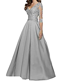 Abendkleider lang grau silber