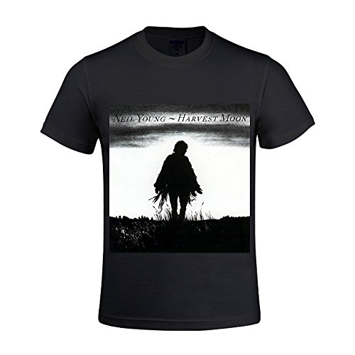Neil Young Harvest Moon Homme T Shirts Crew Neck Funny Large