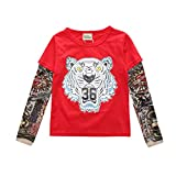 Mxssi Cool 1-7yrs Neonati Maschi T-Shirt Tatuaggio Manica per Bambini Maglia Maniche Lunghe in Cotone Top Tees Bambini Toddlers Camicie Vestiti