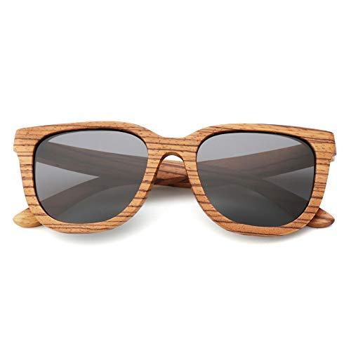 LKVNHP Bambus Holz Sonnenbrillen Womens Polarized Sunglass Männer Mode Sonnenbrillen Marke FrauenBrownC2