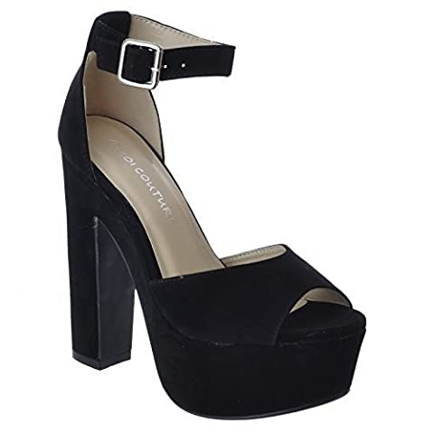 LADIES WOMENS NEW CHUNKY BLOCK HIGH HEEL PLATFORM ANKLE STRAP SANDALS SHOES SIZE [Black Faux Suede / Silver Buckle UK 6 / EU 39 / US 8]