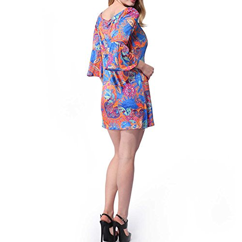 Haodasi l'été des motifs floraux à manche longue jupe vintage décolleté décontracté partie crayon robe W551