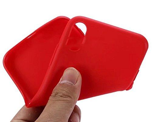 Coque iPhone X (Ten / 10), SDTEK iPhone X (Ten / 10) Housse [TRANSPARENTE GEL] Silicone Case Cover Crystal Clair Soft Gel TPU pour iPhone X (Ten / 10) Rouge