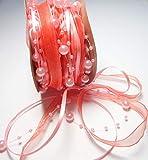 CaPiSo 15m Schleifenband mit Organza und 3 und 8 mm Perlen,Perlenband,Geschenkband,Trendyband,Perlen am Band (Rosa-Lachs)